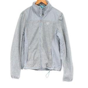 Live Love Dream Women's Gray Fleece Jacket Large